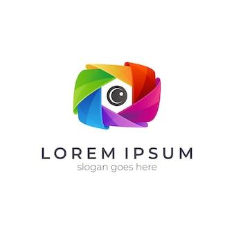 Logo de photographie d'appareil photo coloré