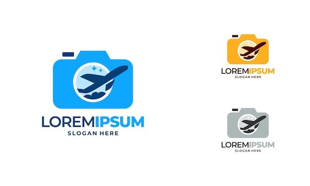 Le logo de la photographie de l'appareil photo conçoit le vecteur de concept, le logo de la photographie de voyage