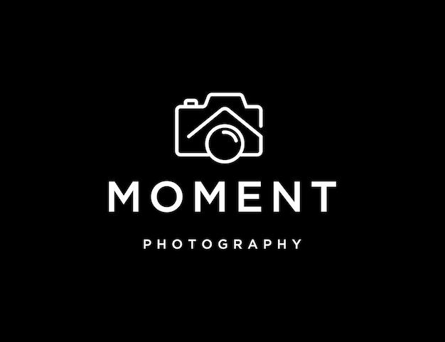 Logo de photographie avec appareil photo et modèle de logo de maison