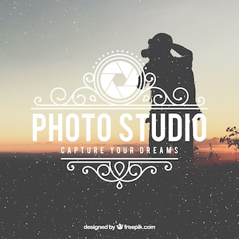 Logo de la photographie vintage avec fond de photo