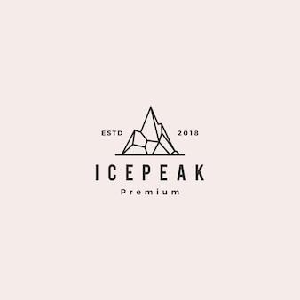 Logo de pierre de montagne de pic de glace mont montagne