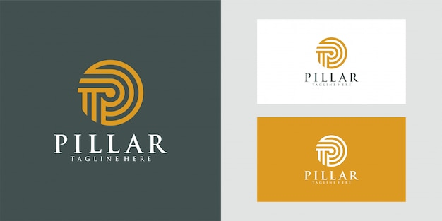 Logo de pilier de luxe pour la conception d'illustration de cabinet d'avocat.