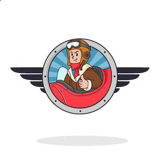 Logo de pilote rétro