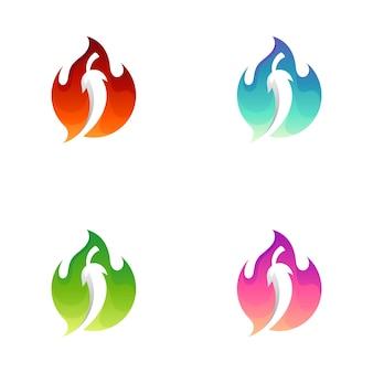 Logo de piment épicé avec variation de couleur