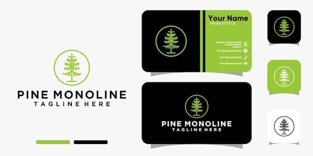 Logo de pin monoline et modèle de vecteur de conception de carte de visite