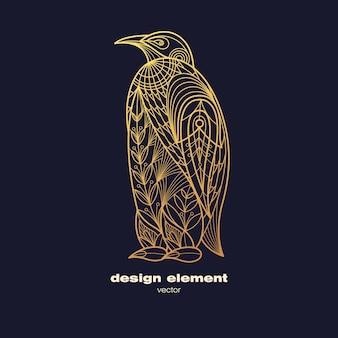 Logo de pingouin ornemental doré