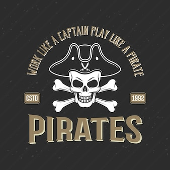 Logo de pirates imprimer avec jolly roger au chapeau armé, illustration vectorielle