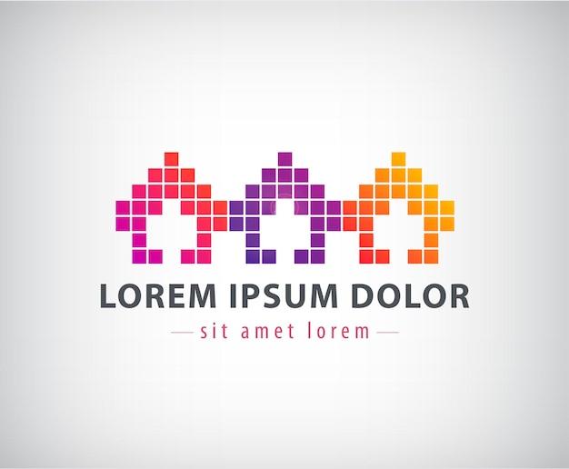 Logo pixel maisons colorées
