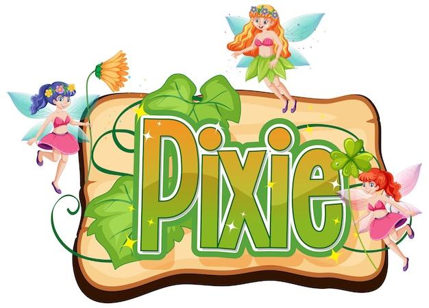 Logo de pixie avec petites fées sur blanc