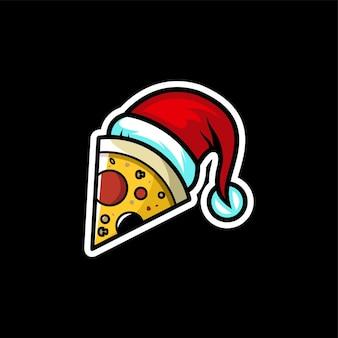 Logo de pizza de noël