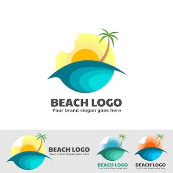 Logo plage coucher de soleil