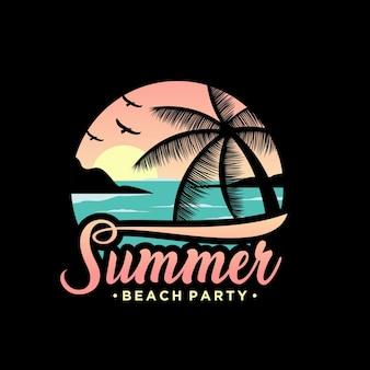 Logo de la plage d'été au coucher du soleil