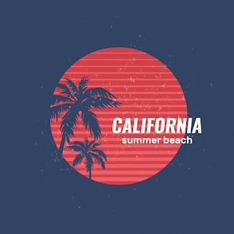 Logo de plage d'été en californie