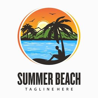 Logo de plage d'été