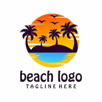 Logo de la plage, modèle, illustration