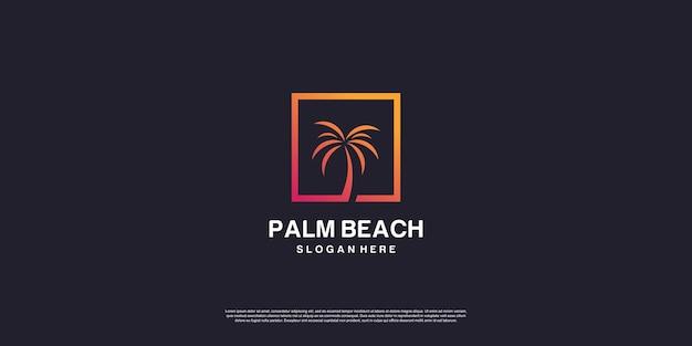 Logo de plage de palmiers avec concept créatif vecteur premium partie 1
