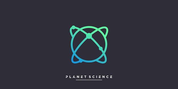 Logo de la planète avec le concept de la science et de la molécule vecteur premium partie 3