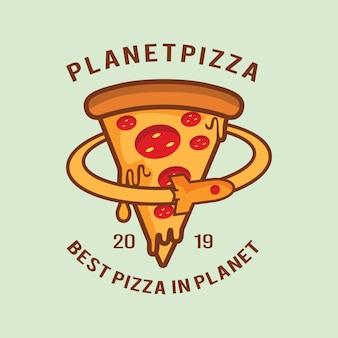 Logo planète pizza