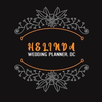 Logo de planificateur de mariage et insigne modèle dessiné à la main fleur