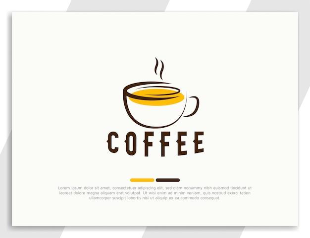Logo plat emblématique de boisson au café avec modèle de conception de tasse