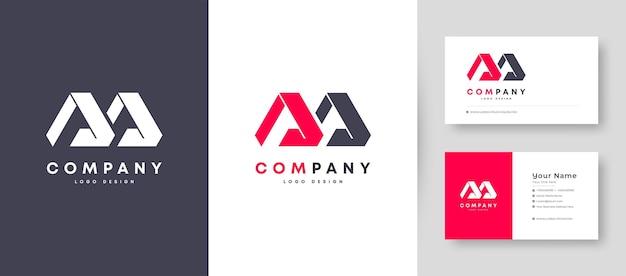 Logo plat minimal couronne initiale a, ma et am avec modèle de conception de carte de visite premium