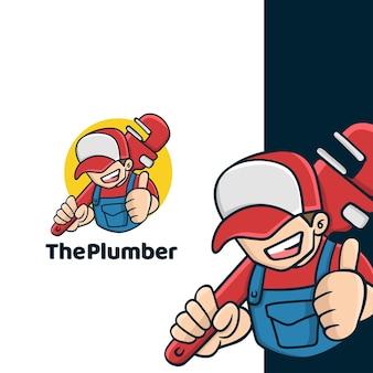 Logo de plombier de dessin animé