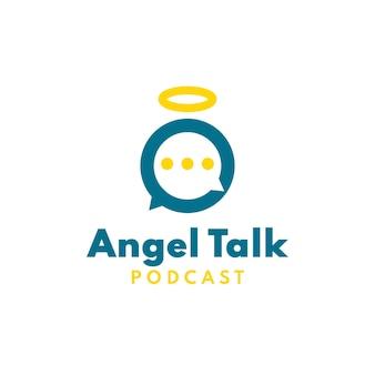 Logo de podcast d'ange avec l'icône d'ange espiègle de concept de conversation de bulle