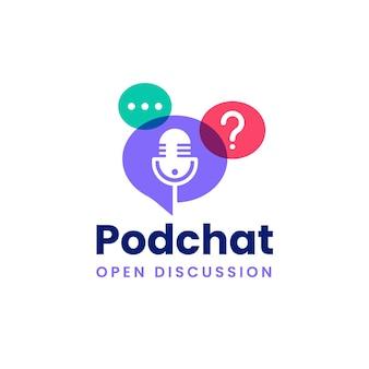 Logo de podcast de chat à bulles moderne de couleur qui se chevauche