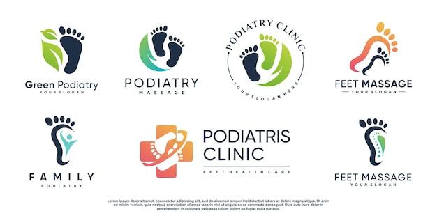 Logo de podologue avec style d'élément créatif vecteur premium