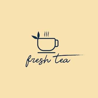Logo de point de thé. emblème de bar à thé. cyber café. théière ou bouilloire et lettres sur un logo vectoriel background.tea clair
