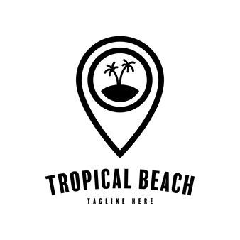 Logo de pointeur d'île tropicale. conception de silhouette de broche de positionnement pour carte de plage tropicale