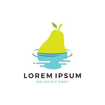 Logo de poire flottant sur l'eau