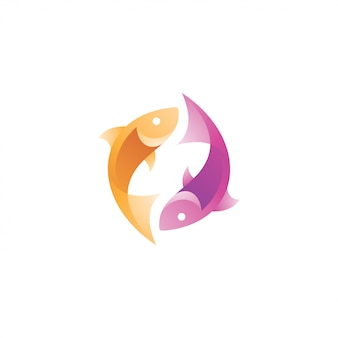 Logo de poisson abstrait moderne