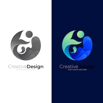 Logo de poisson et eau de vague.