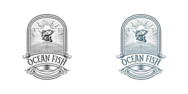 Logo de poisson océanique dans un style vintage
