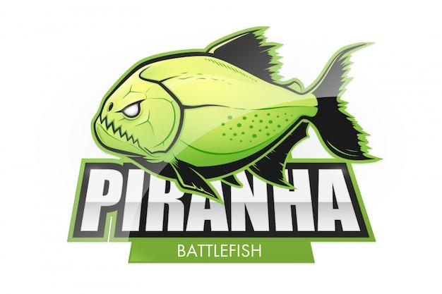 Logo De Poisson Piranha Vert Acide Vecteur Premium