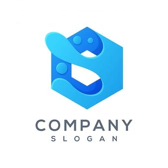 Logo polygon wave prêt à l'emploi