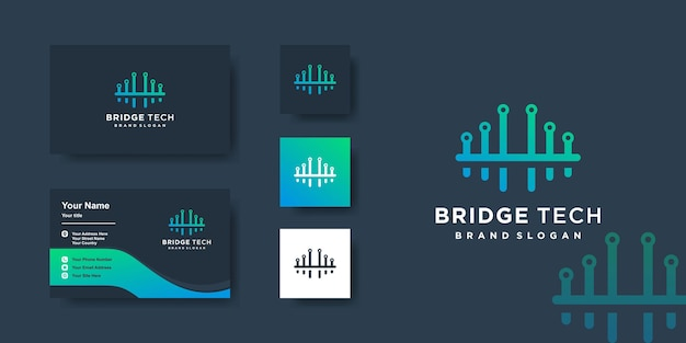 Logo de pont avec concept de technologie et conception de carte de visite ordinateur créatif vecteur premium