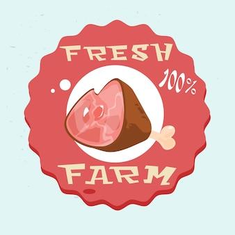 Logo pork lad pig viande eco fresh farm