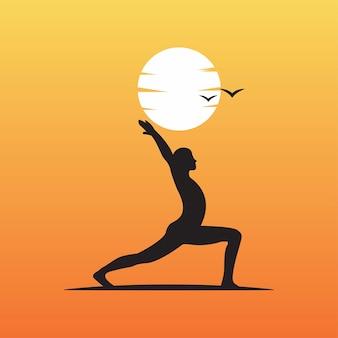 Logo de pose de yoga sur silhouette de contour de coucher de soleil