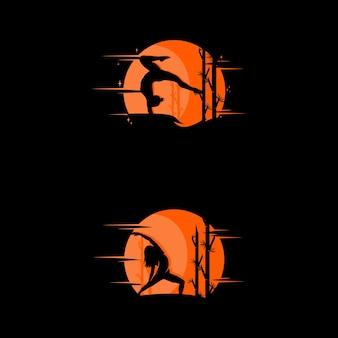 Logo de pose de yoga sur la silhouette du contour du coucher du soleil. illustration vectorielle