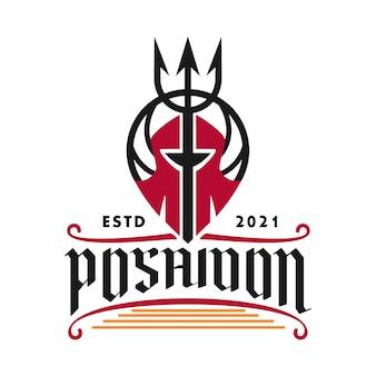 Logo poséidon trident pour restaurants boissons et nourriture