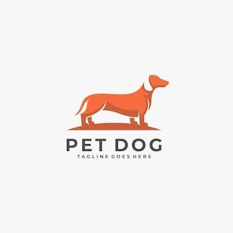 Logo de position de chien de compagnie.