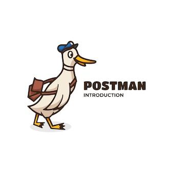 Logo post man style de mascotte simple.