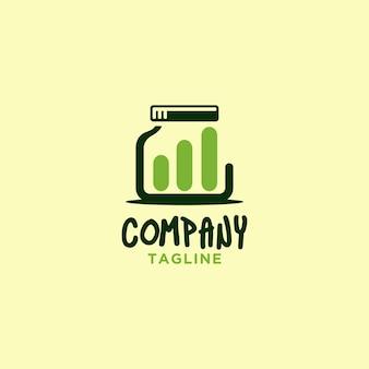 Logo de pot avec graphique à barres pour l'entreprise