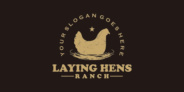 Logo de poules pondeuses vintage, référence du logo du ranch