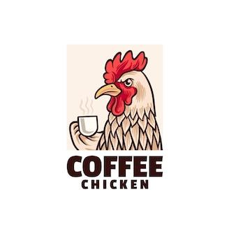 Logo de poulet au café