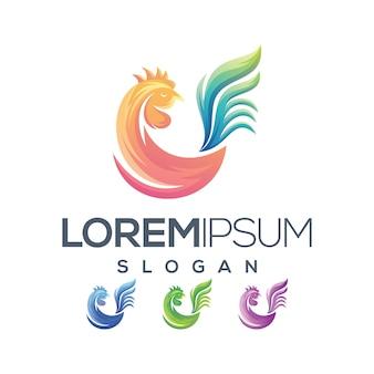 Logo de poulet gradient de couleur