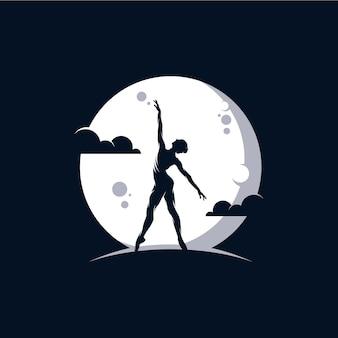 Logo Pour Un Ballet Ou Un Studio De Danse Dans La Lune Vecteur Premium