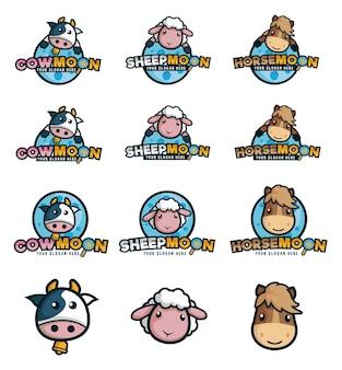 Logo pour ferme animale avec vache, mouton et cheval comme mascotte